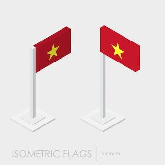 Estilo isométrico 3d de la bandera de vietnam