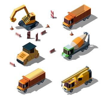Estilo isométrico de camiones de la industria de la construcción.