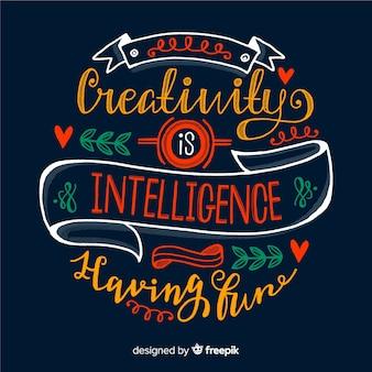 Estilo de letras de fondo de cita de creatividad