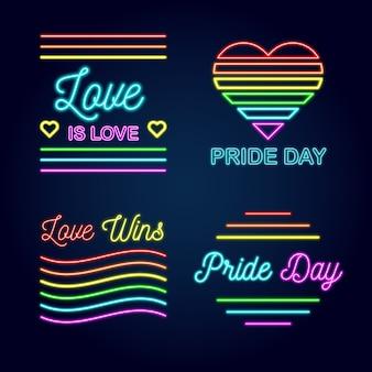 Estilo de letreros de neón del día del orgullo