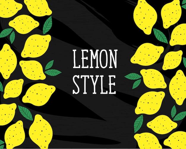 Estilo de limón vector ilustración minimalismo amarillo pizarra
