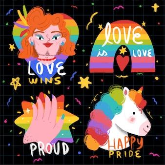 Estilo lindo de las etiquetas del día del orgullo