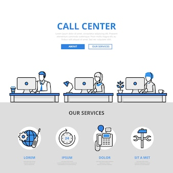 Estilo de línea plana del concepto de lugar de trabajo de oficina de soporte al usuario de centro de llamadas. material impreso
