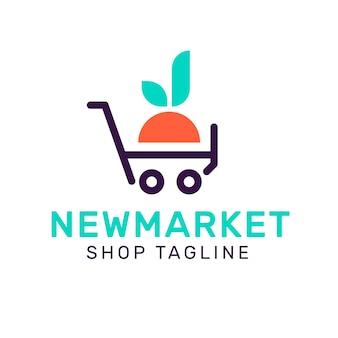 Estilo de logotipo de supermercado con lema de la tienda