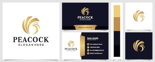 Estilo de lujo de diseño de logotipo de pavo real con concepto de tarjeta de visita