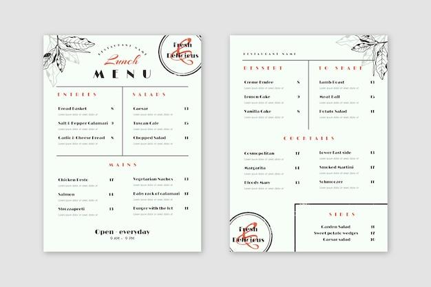 Estilo de menú de restaurante de comida sana vintage