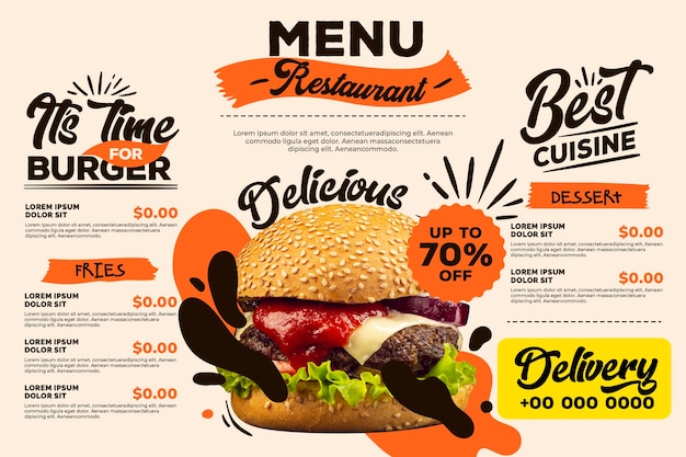 Estilo de menú de restaurante digital