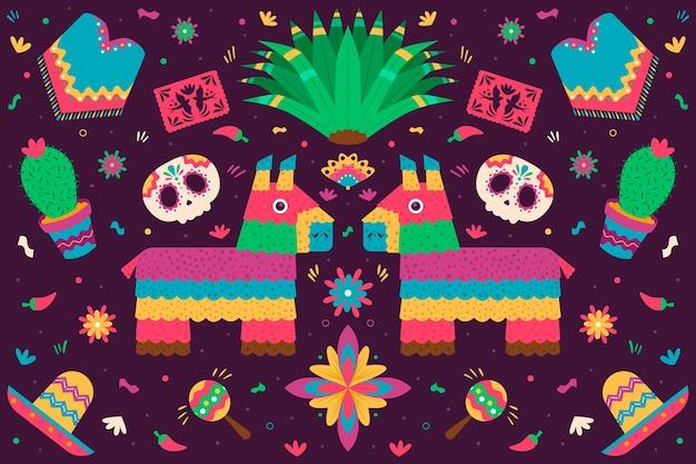 Estilo mexicano colorido fondo plano