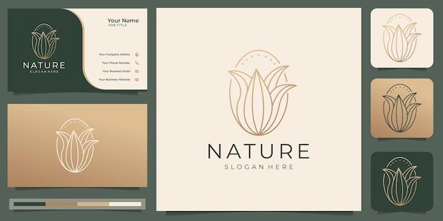 Estilo minimalista del arte de la línea del logotipo de la flor de la naturaleza con el logotipo de la tarjeta de visita para cosméticos de belleza, yoga y spa vector premium