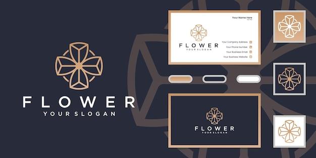 Estilo minimalista elegante flor rosa línea arte. diseño de logotipo y tarjeta de visita