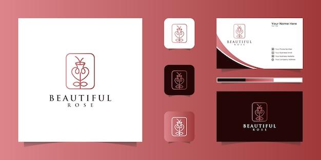 Estilo minimalista elegante flor rosa línea arte. salón de belleza de lujo, moda, cosmética, yoga y productos de spa. diseño de logotipo y tarjeta de visita