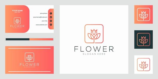 Estilo minimalista elegante flor rosa línea arte. salón de belleza de lujo, moda, cuidado de la piel, cosmética, yoga y productos de spa. diseño de logotipos y negocios