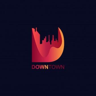 Estilo moderno de los gradientes del logotipo de la letra d 3d