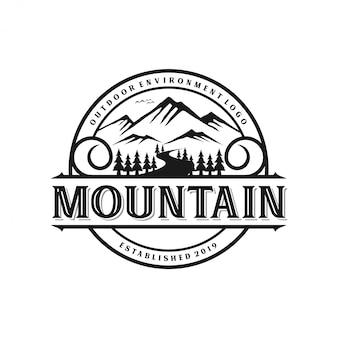 Estilo de monograma de logotipo de montaña vintage