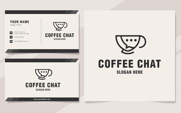 Estilo de monograma de plantilla de logotipo de chat de café