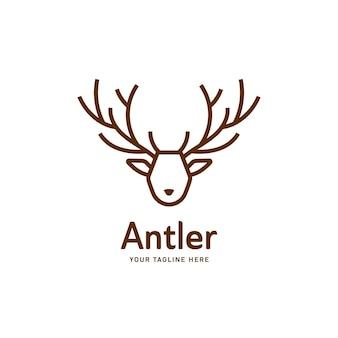Estilo de monoline de contorno de plantilla de icono de logotipo de asta de ciervo