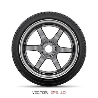 Estilo del neumático del coche de rueda de aluminio que compite con en el fondo blanco.