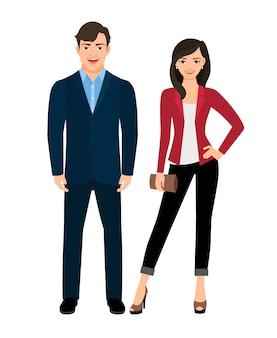Estilo de oficina vestido de moda hermosa pareja. ilustración vectorial