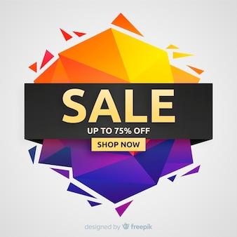 Estilo de origami de fondo colorido de ventas