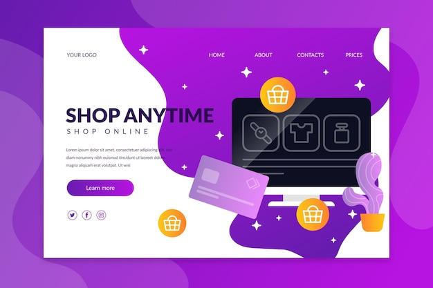 Estilo de página de destino de compras en línea