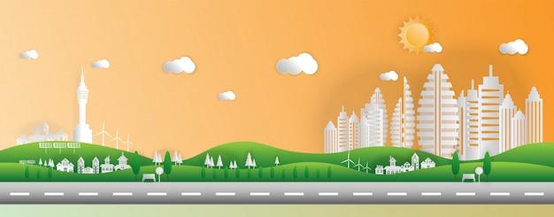 Estilo de papel del arte del paisaje en la ciudad con puesta de sol.