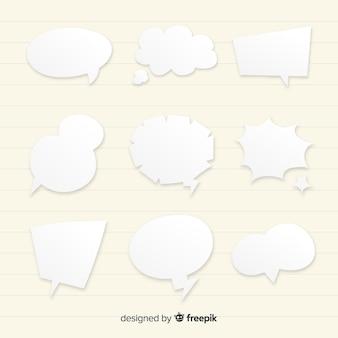 Estilo de papel de colección de burbujas de discurso plano