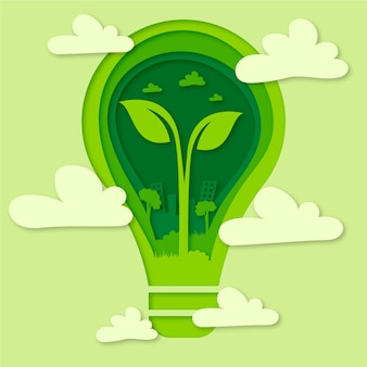 Estilo de papel para el concepto de día de medio ambiente de palabra