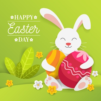 Estilo de papel feliz día de pascua con conejito abrazando huevos