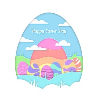 Estilo de papel feliz día de pascua con huevos al aire libre