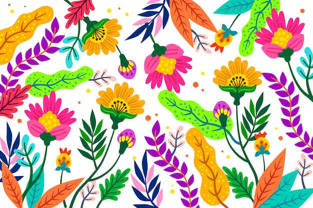 Estilo de papel tapiz de estampado floral exótico colorido