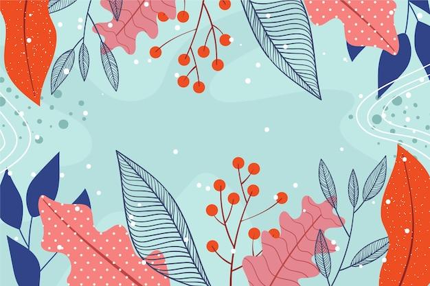 Estilo de papel tapiz floral abstracto de diseño plano