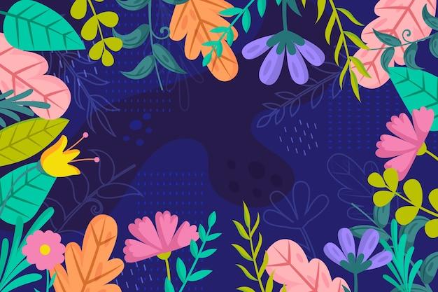 Estilo de papel tapiz floral de diseño plano