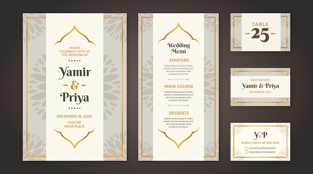 Estilo de papelería de boda india