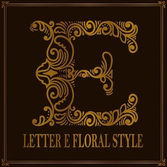 Estilo de patrón floral vintage letra e