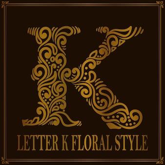 Estilo de patrón floral vintage letra k