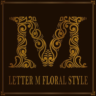 Estilo de patrón floral vintage letra m
