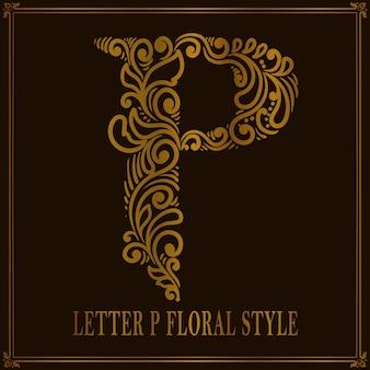Estilo de patrón floral vintage letra p