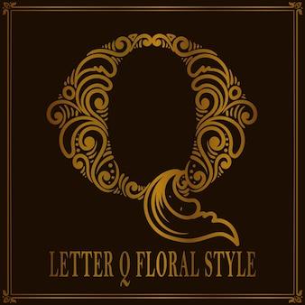 Estilo de patrón floral vintage letra q