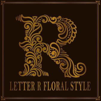 Estilo de patrón floral vintage letra r