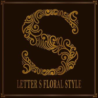 Estilo de patrón floral vintage letra s