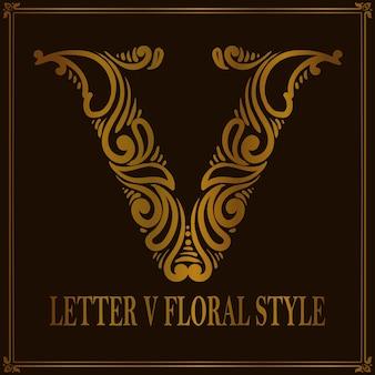 Estilo de patrón floral vintage letra v