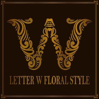Estilo de patrón floral vintage letra w