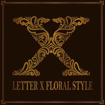 Estilo de patrón floral vintage letra x