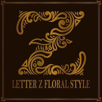 Estilo de patrón floral vintage letra z