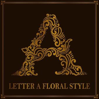 Estilo de patrón floral vintage letra a
