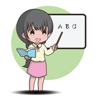 Estilo de personaje de dibujos animados lindo profesor.