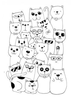 Estilo de personajes de gato doodles ilustración para colorear para niños