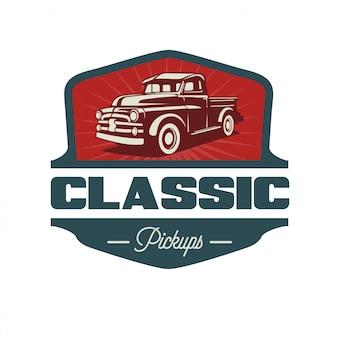 Estilo pickup reto clásico y diseño de logotipo vintage
