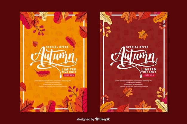 Estilo plano de banner de venta otoño