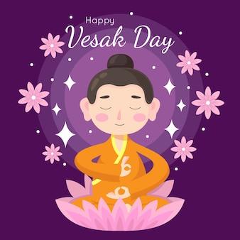 Estilo plano para la celebración de vesak